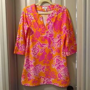 JUDE CONNALLY orange and pink print tunic top, M